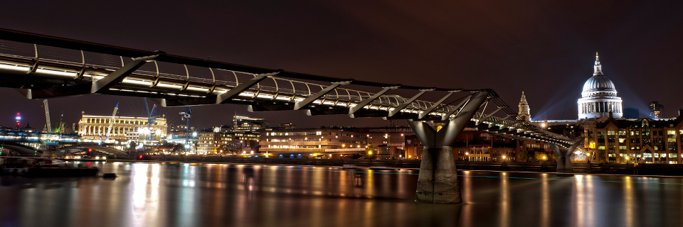 Millennium Bridge with St. Paul`s Cathedral at night