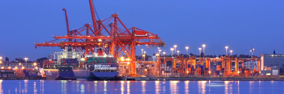 a cargo shipping terminal lit up a dusk